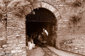Laxey Mine Steam Engine 'Ant' exiting the road tunnel - © Peter Killey