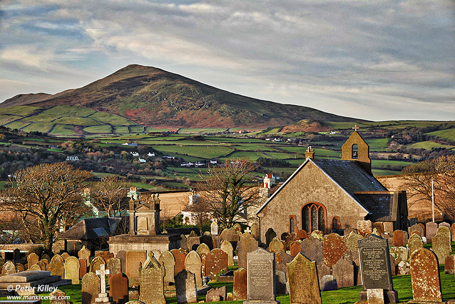 Maughold Church looking towards North Barrule Mountain © Peter Killey - www.manxscenes.com