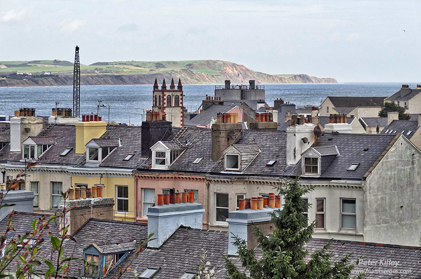 Overlooking the rooftops of Waterloo Rd, Ramsey towards Bride © Peter Killey - www.manxscenes.com