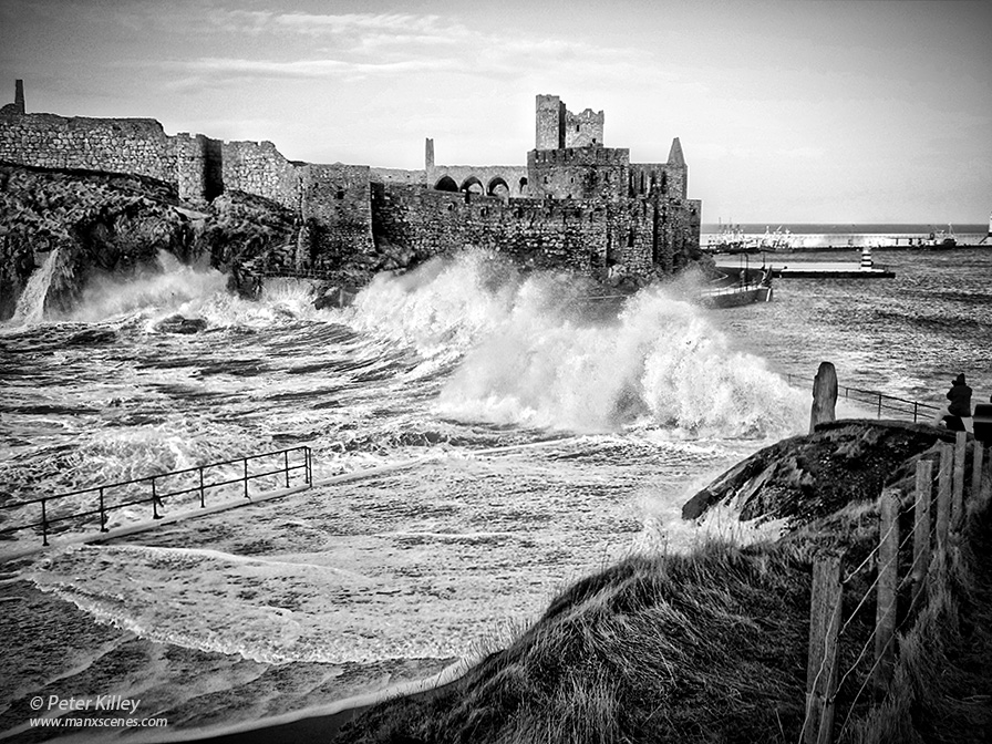 Fenella Beach in Peel at High tide 6th January 2014  Peter Killey - www.manxscenes.com