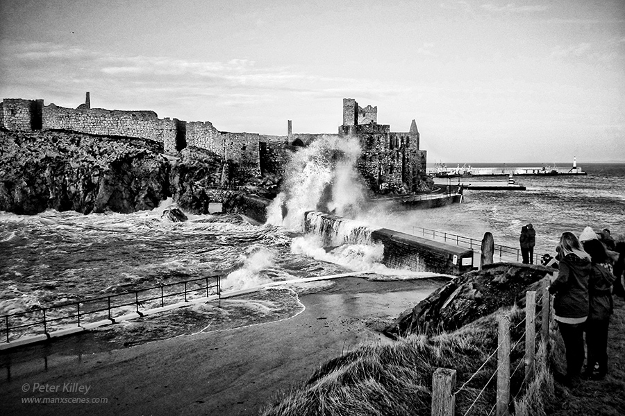 High Tide at Fenella Beach at Peel Castle Peter Killey - www.manxscenes.com