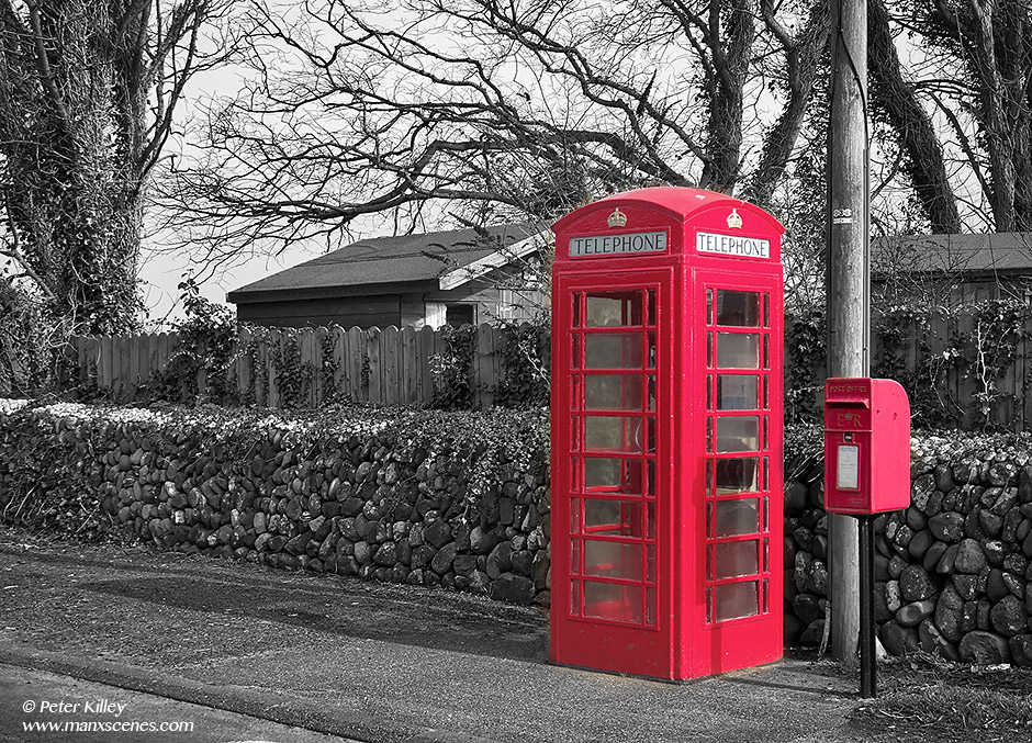 Red Phone Box and Post Box at the Cronk © Peter Killey - www.manxscenes.com