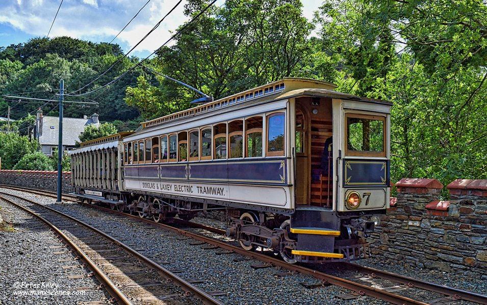 Tram No 7 Approaching Laxey Station © Peter Killey - www.manxscenes.com