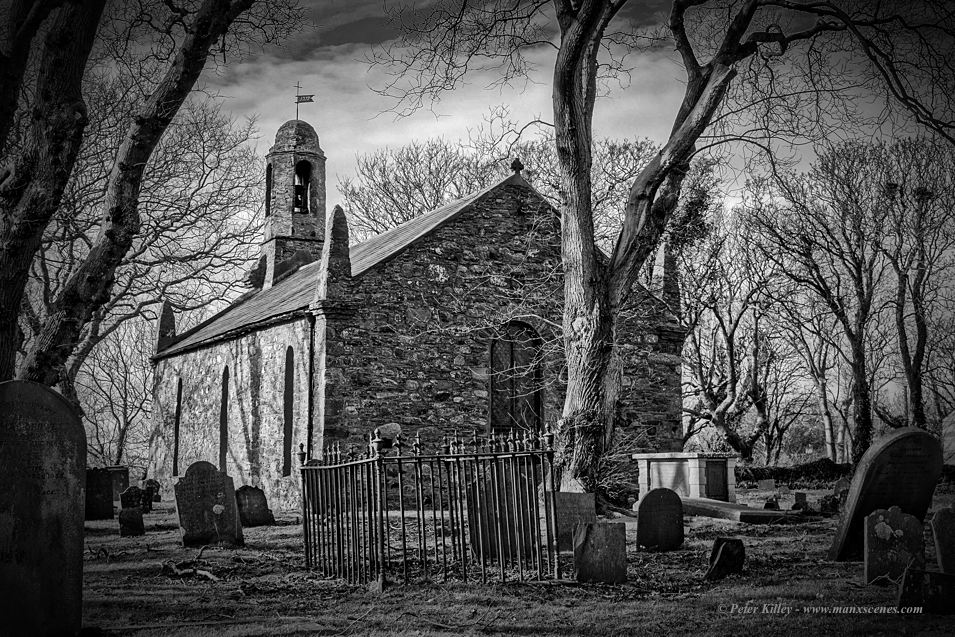 Ballaugh Old Church in B&W © Peter Killey - www.manxscenes.com