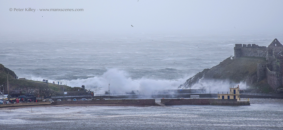 Storm Frank in Peel © Peter Killey - www.manxscenes.com