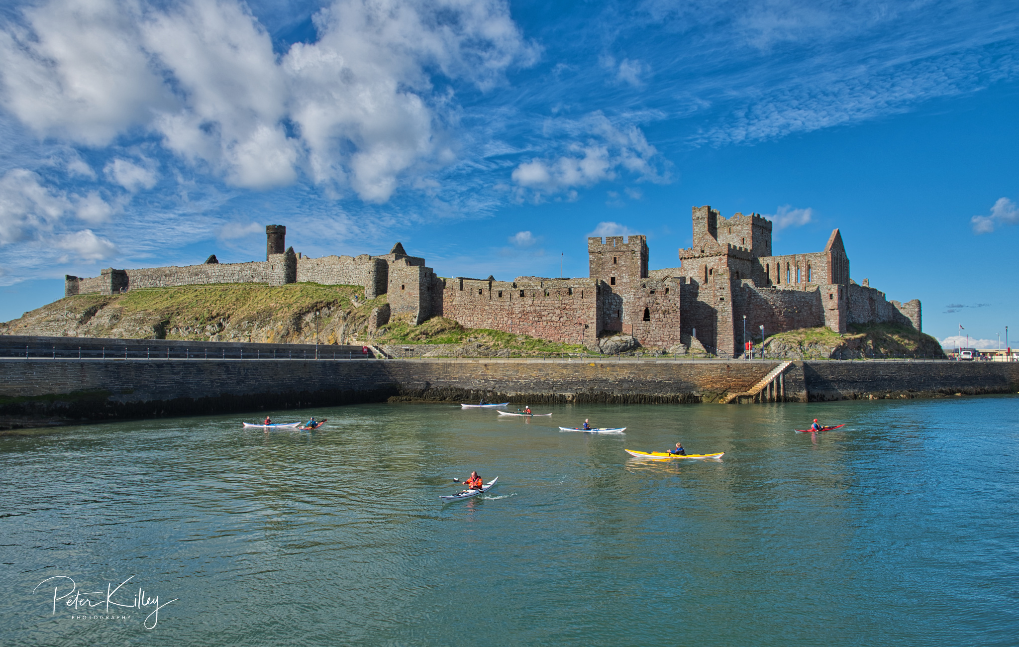 Kayakers & Peel Castle - © Peter Killey - www.manxscenes.com